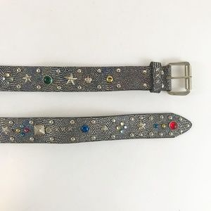 Vintage Silver/Blue Colorful Studs Leather Belt